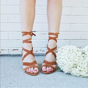 Sole Society Lace Up Heeled Sandals